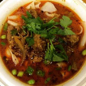 Spicy cumin lamb hand ripped noodles in soup, Xi'an Famous Foods, Midtown, NYC