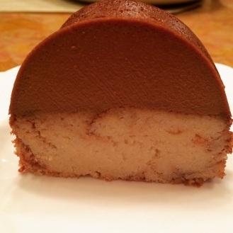 Reverse chocolate flan cake
